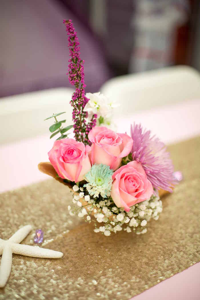 Floral centerpiece from a Shimmering Mermaid Birthday Party on Kara's Party Ideas | KarasPartyIdeas.com (28)