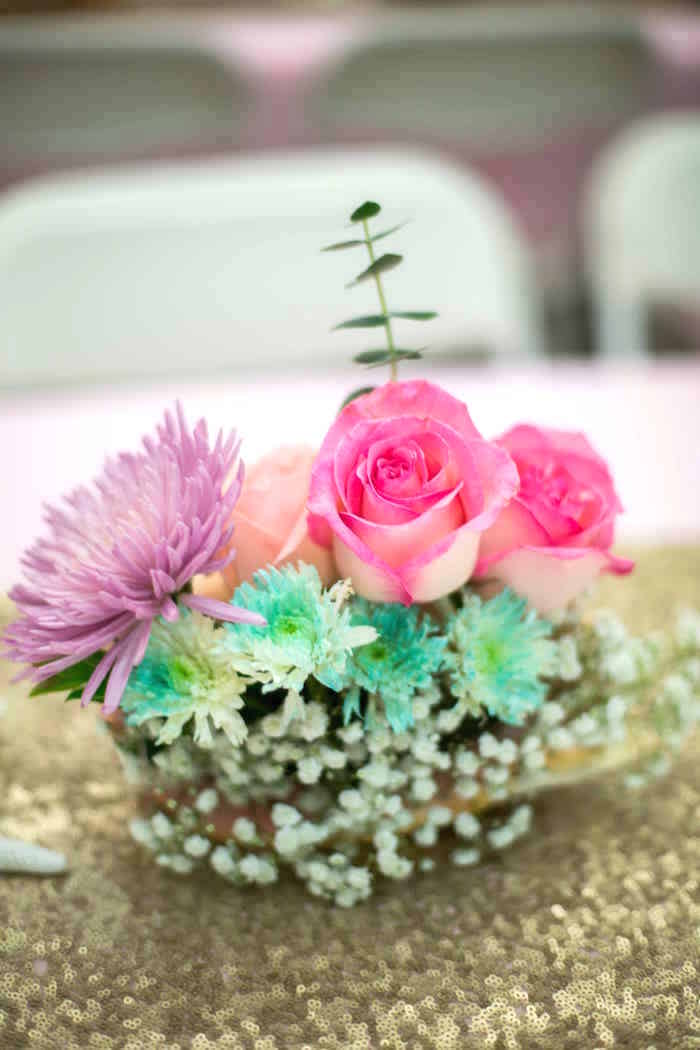 Floral centerpiece from a Shimmering Mermaid Birthday Party on Kara's Party Ideas | KarasPartyIdeas.com (27)