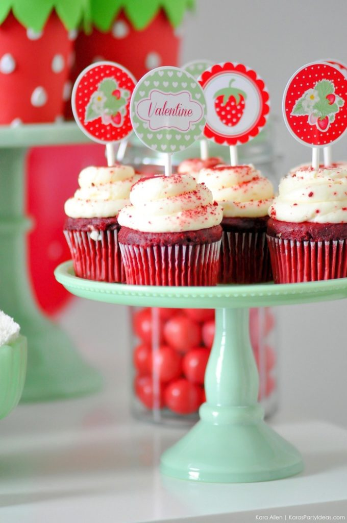Berry Sweet Strawberry Valentine's Day Party with FREE printables! By Kara's Party Ideas for Canon. Free cupcake toppers!