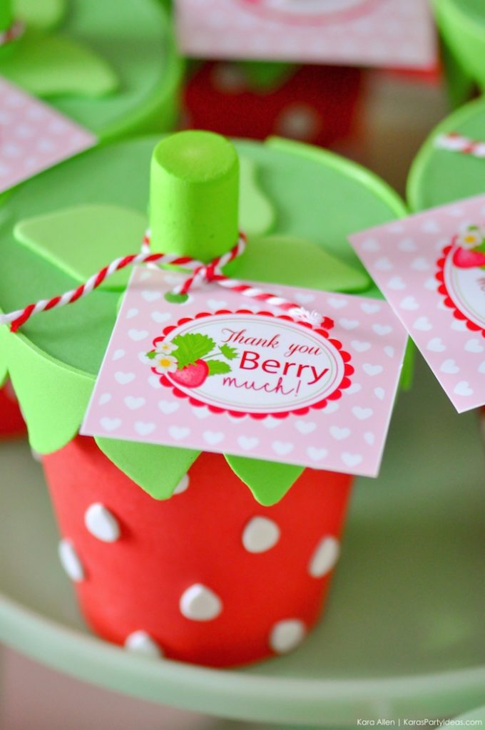 Strawberry Favors. Berry Sweet Strawberry Valentine's Day Party with FREE printables! By Kara's Party Ideas for Canon.