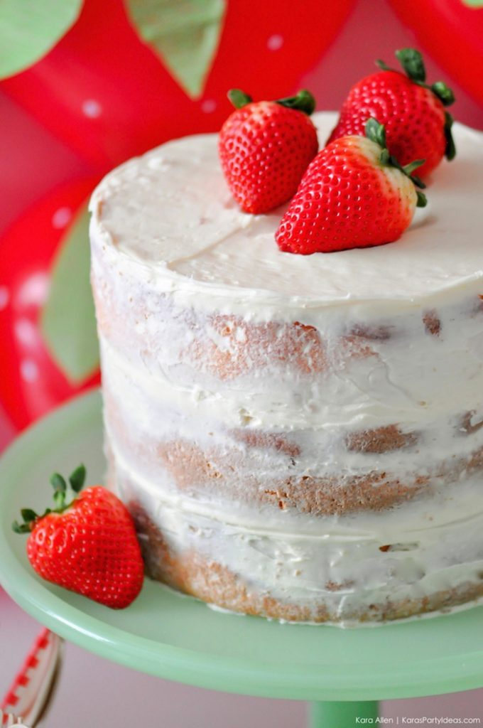Strawberry Naked Cake. Berry Sweet Strawberry Valentine's Day Party with FREE printables! By Kara's Party Ideas for Canon.
