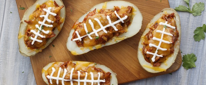 Texas Taters Potato Football Recipe via Kara's Party Ideas