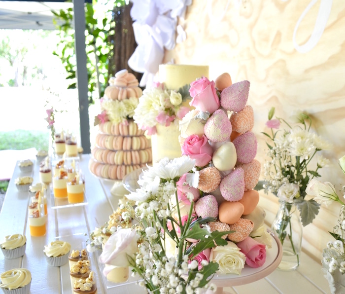 Dessert tablescape from a Sweet Floral First Birthday Party on Kara's Party Ideas | KarasPartyIdeas.com (10)