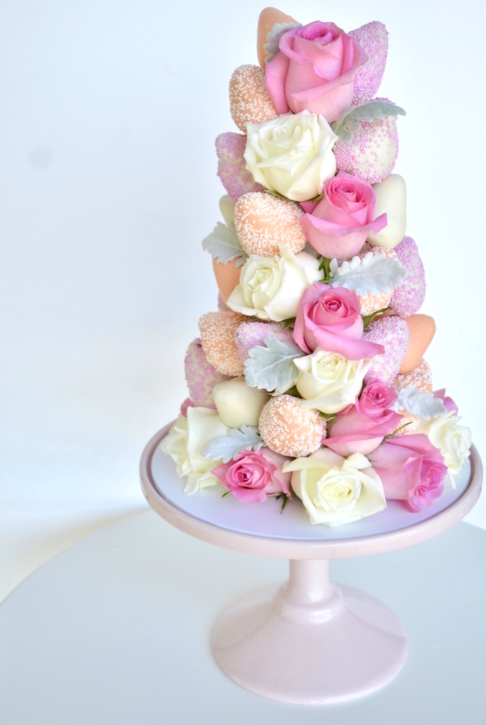 Chocolate covered strawberry tower from a Sweet Floral First Birthday Party on Kara's Party Ideas | KarasPartyIdeas.com (6)