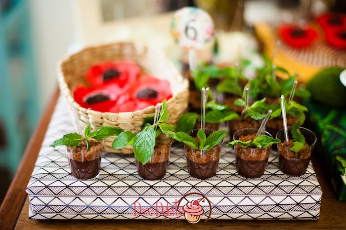 Mint topped dessert cups from a Taina Inspired Little Indian Birthday Party on Kara's Party Ideas | KarasPartyIdeas.com (16)