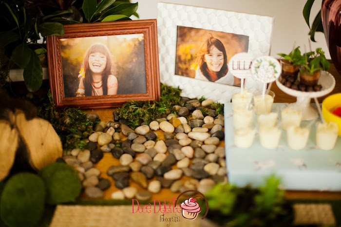 Framed photos and rocks from a Taina Inspired Little Indian Birthday Party on Kara's Party Ideas | KarasPartyIdeas.com (13)
