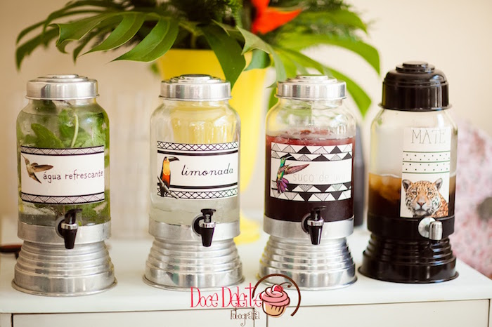 Beverage dispensers from a Taina Inspired Little Indian Birthday Party on Kara's Party Ideas | KarasPartyIdeas.com (5)