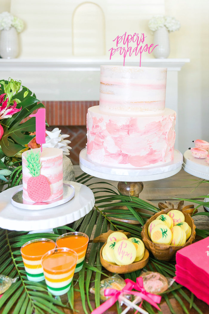 Pink + white cakes from a Tropical Birthday Party on Kara's Party Ideas | KarasPartyIdeas.com (41)