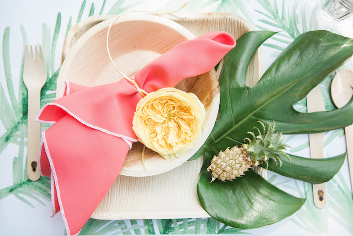 Tropical place setting from a Tropical Birthday Party on Kara's Party Ideas | KarasPartyIdeas.com (37)