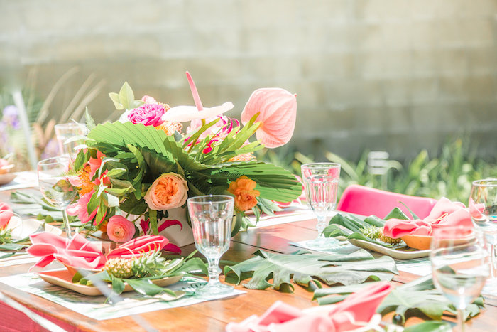 Guest tablescape from a Tropical Birthday Party on Kara's Party Ideas | KarasPartyIdeas.com (36)