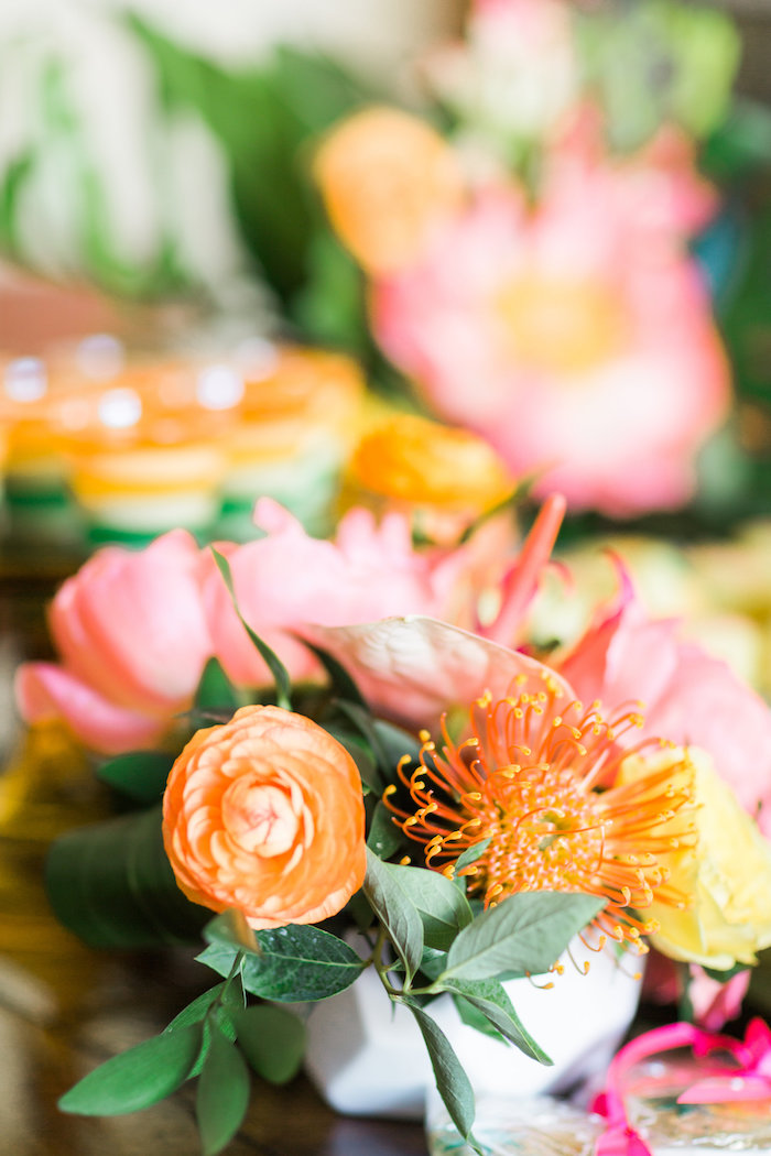 Tropical floral arrangement from a Tropical Birthday Party on Kara's Party Ideas | KarasPartyIdeas.com (54)