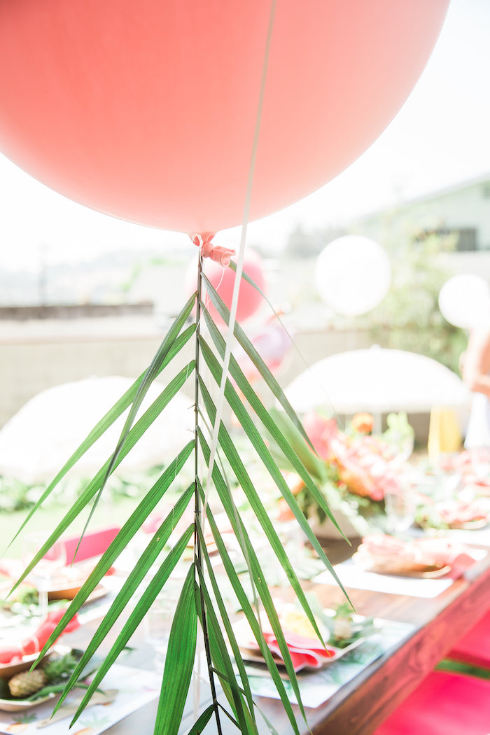 Pink jumbo balloon from a Tropical Birthday Party on Kara's Party Ideas | KarasPartyIdeas.com (35)