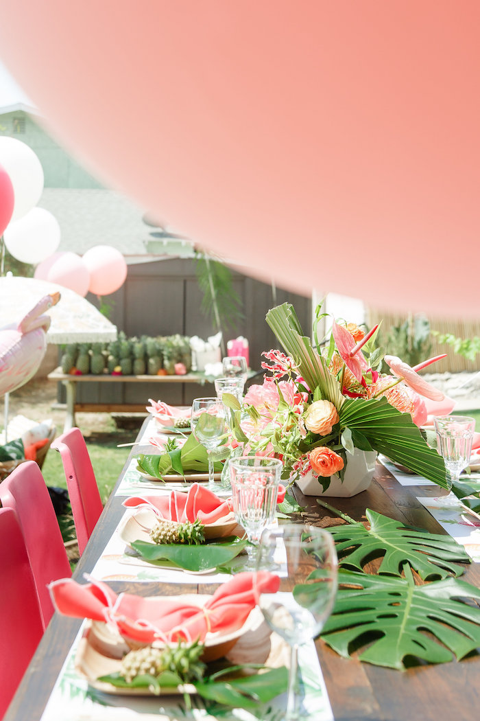 Tropical guest tablescape from a Tropical Birthday Party on Kara's Party Ideas | KarasPartyIdeas.com (33)