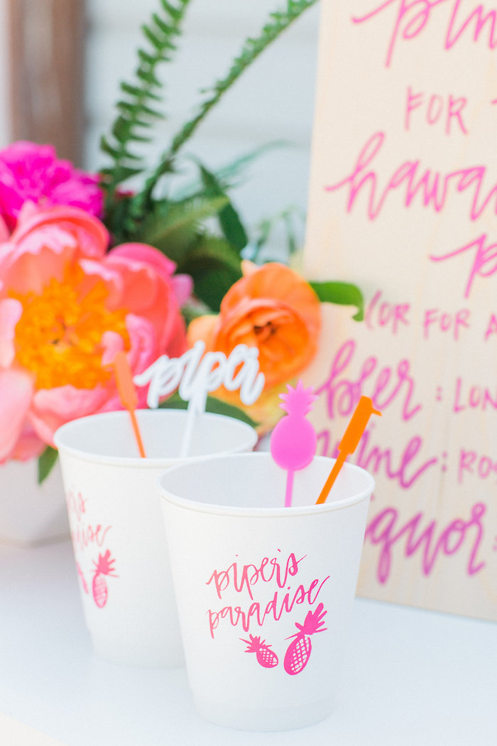 Drink cups from a Tropical Birthday Party on Kara's Party Ideas | KarasPartyIdeas.com (26)