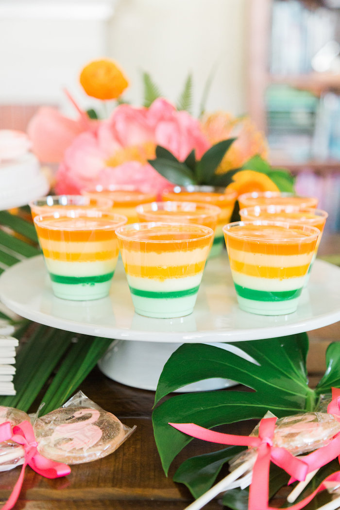 Layered jello cups from a Tropical Birthday Party on Kara's Party Ideas | KarasPartyIdeas.com (52)