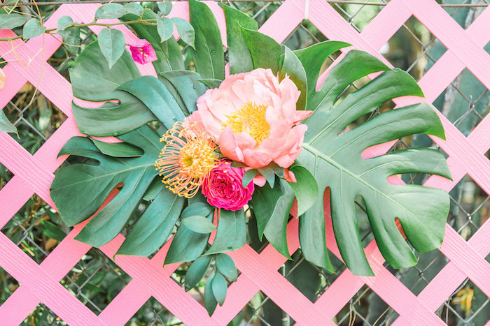 Tropical arrangement on pink lattice from a Tropical Birthday Party on Kara's Party Ideas | KarasPartyIdeas.com (14)