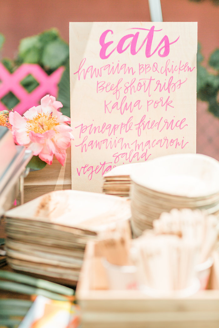 Wooden party menu from a Tropical Birthday Party on Kara's Party Ideas | KarasPartyIdeas.com (12)
