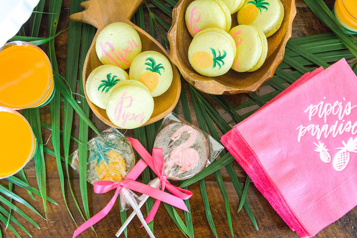 Tropical lollipops and macarons from a Tropical Birthday Party on Kara's Party Ideas | KarasPartyIdeas.com (47)