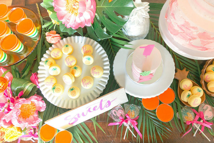 Sweet tabletop from a Tropical Birthday Party on Kara's Party Ideas | KarasPartyIdeas.com (46)