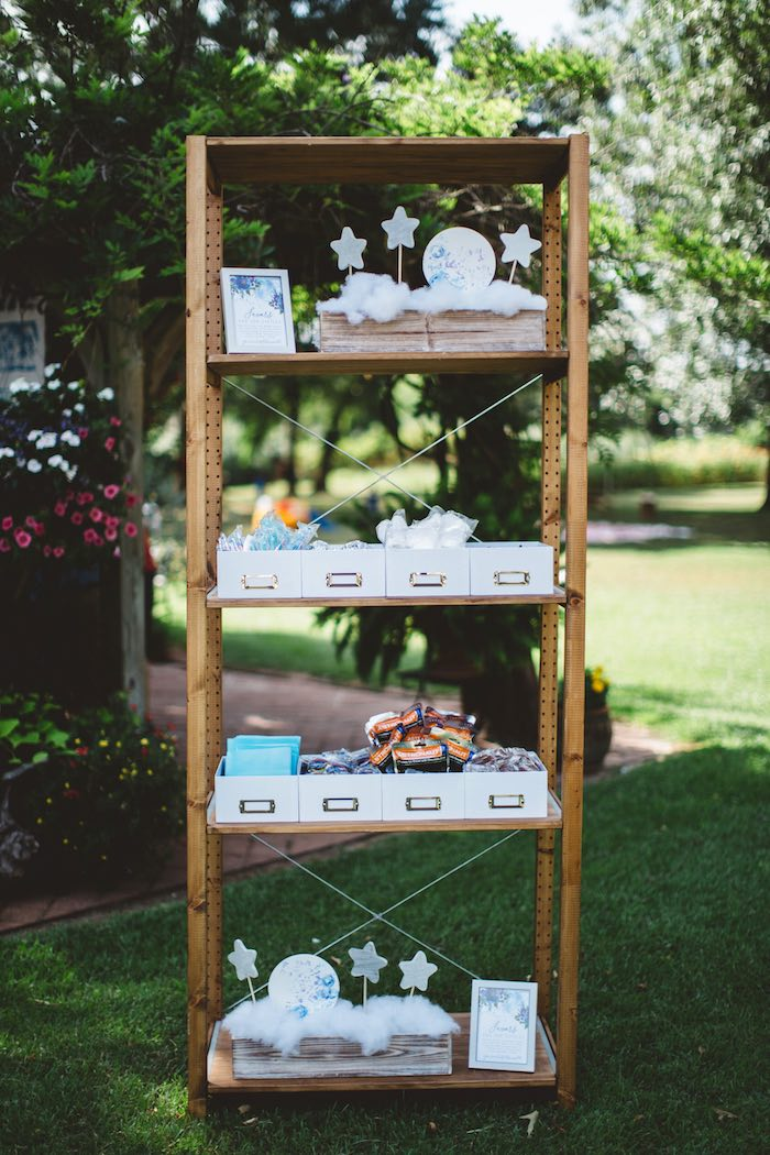 """Favor shelf from a """"Two the Moon"""" 2nd Birthday Party on Kara's Party Ideas 