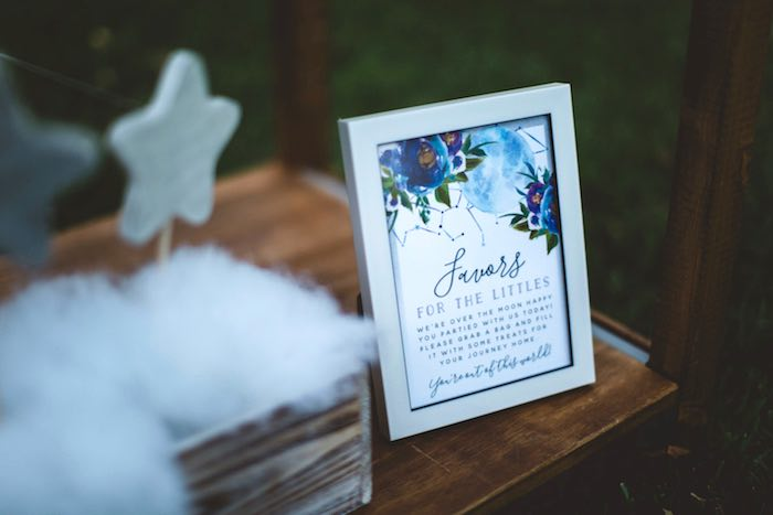 """Printed favor sign from a """"Two the Moon"""" 2nd Birthday Party on Kara's Party Ideas 