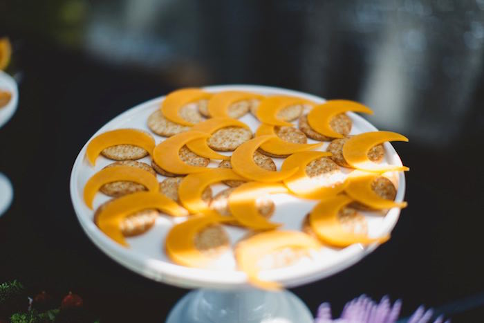 """Crackers topped with crescent moon cheese slices from a """"Two the Moon"""" 2nd Birthday Party on Kara's Party Ideas 