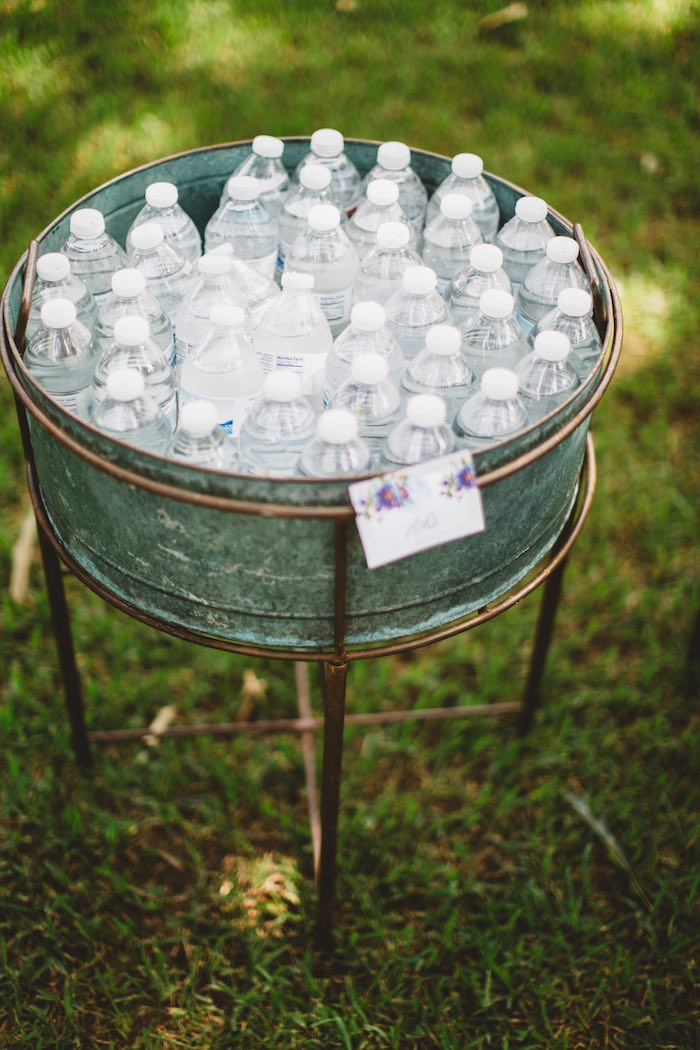 "Galvanized drink bin from a ""Two the Moon"" 2nd Birthday Party on Kara's Party Ideas 