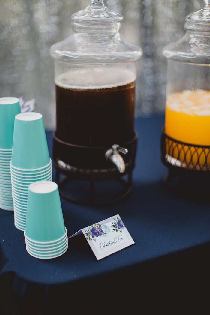"Beverage table from a ""Two the Moon"" 2nd Birthday Party on Kara's Party Ideas 