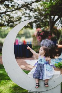 "Moon photo booth from a ""Two the Moon"" 2nd Birthday Party on Kara's Party Ideas 