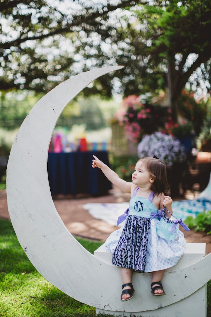 """Moon photo booth from a """"Two the Moon"""" 2nd Birthday Party on Kara's Party Ideas 