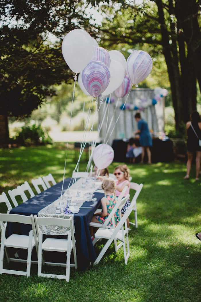 "Kid table from a ""Two the Moon"" 2nd Birthday Party on Kara's Party Ideas 