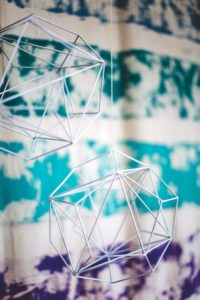 "Geometric wire decorations from a ""Two the Moon"" 2nd Birthday Party on Kara's Party Ideas 