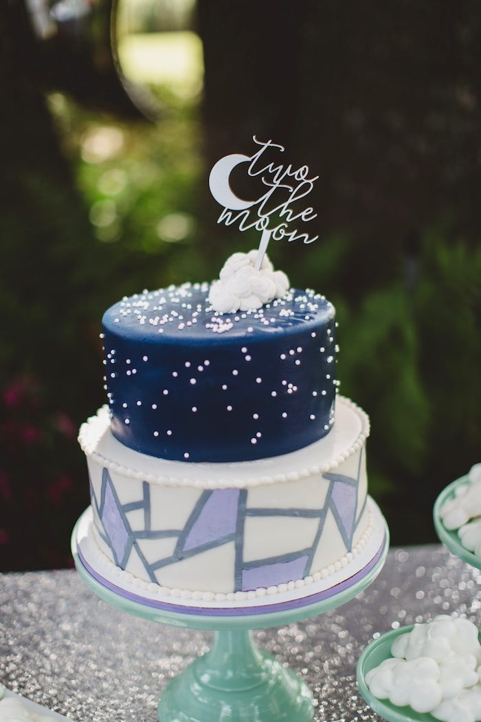 """Moon cake from a """"Two the Moon"""" 2nd Birthday Party on Kara's Party Ideas 