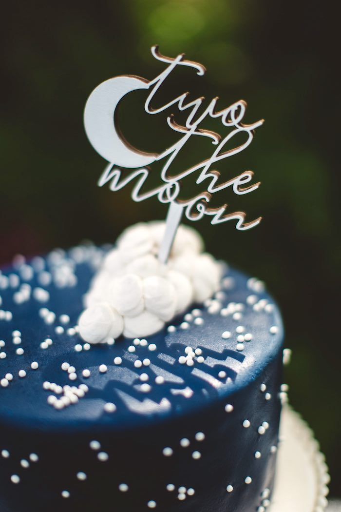 "Marshmallow + moon cake topper from a ""Two the Moon"" 2nd Birthday Party on Kara's Party Ideas 