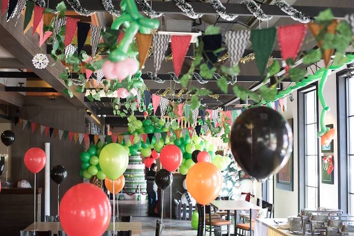 Overhead bunting from a Viking & Dragons Birthday Party on Kara's Party Ideas | KarasPartyIdeas.com (9)