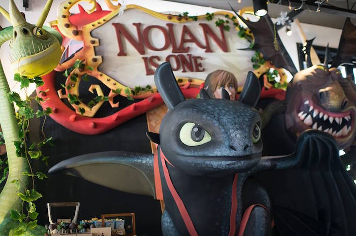 Toothless backdrop from a Viking & Dragons Birthday Party on Kara's Party Ideas | KarasPartyIdeas.com (24)