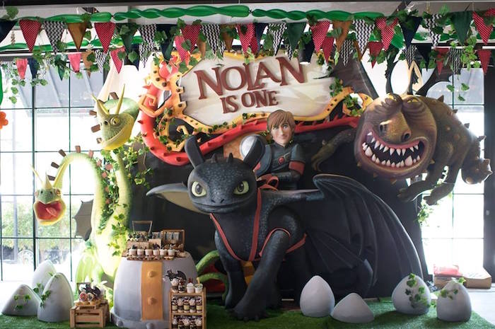 How to Train Your Dragon Backdrop from a Viking & Dragons Birthday Party on Kara's Party Ideas | KarasPartyIdeas.com (4)