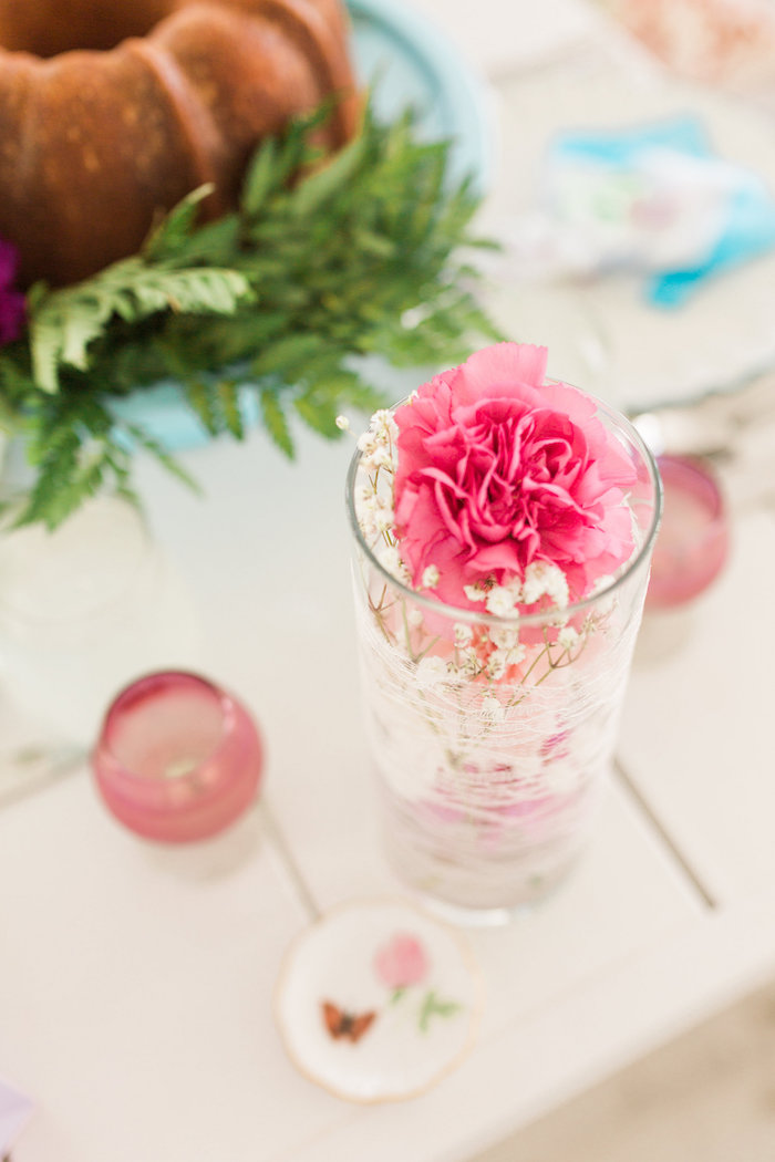 Carnation and lace centerpiece from a Vintage Shabby Chic Ladies Luncheon on Kara's Party Ideas | KarasPartyIdeas.com (24)