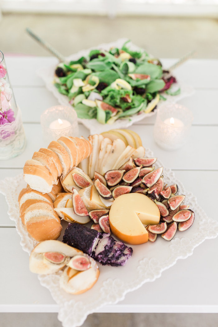 Cheese And Fruit Plate From A Vintage Shabby Chic Ladies Luncheon On Karas Party Ideas