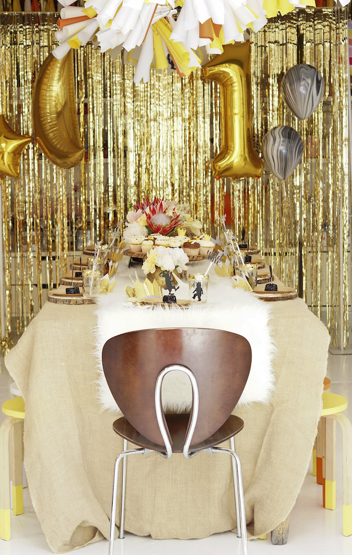Gold & white guest table from a Where the Wild Things Are 1st Birthday Party on Kara's Party Ideas | KarasPartyIdeas.com (27)