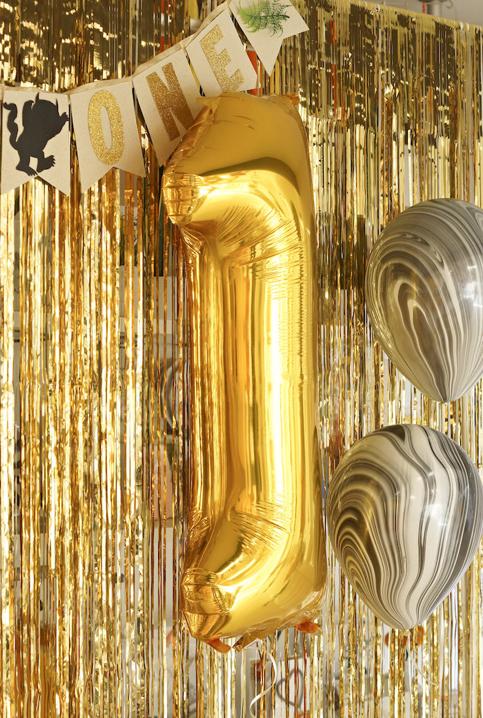 """Gold mylar """"1"""" balloon from a Where the Wild Things Are 1st Birthday Party on Kara's Party Ideas 
