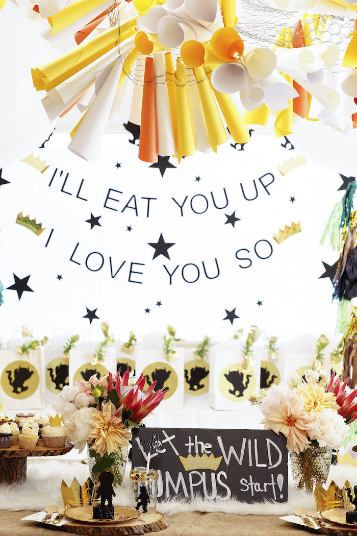 """""""I'll eat you up"""" star backdrop from a Where the Wild Things Are 1st Birthday Party on Kara's Party Ideas 