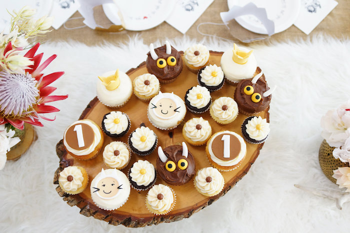 """""""Wild Thing"""" cupcakes from a Where the Wild Things Are 1st Birthday Party on Kara's Party Ideas 