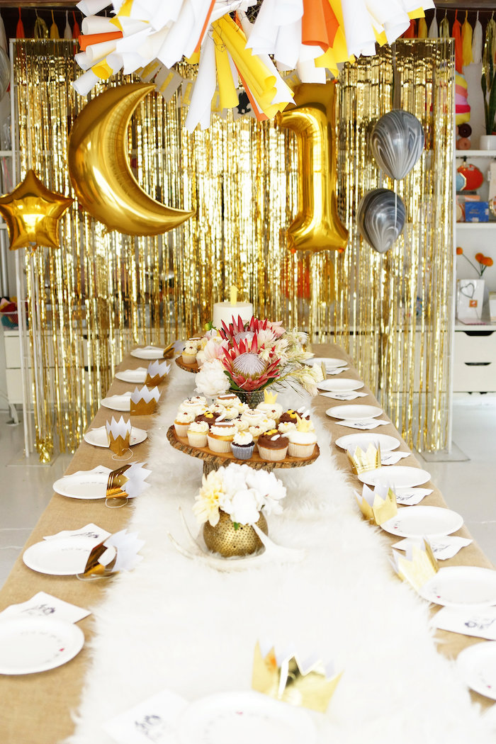 Gold & white guest tablescape from a Where the Wild Things Are 1st Birthday Party on Kara's Party Ideas | KarasPartyIdeas.com (8)