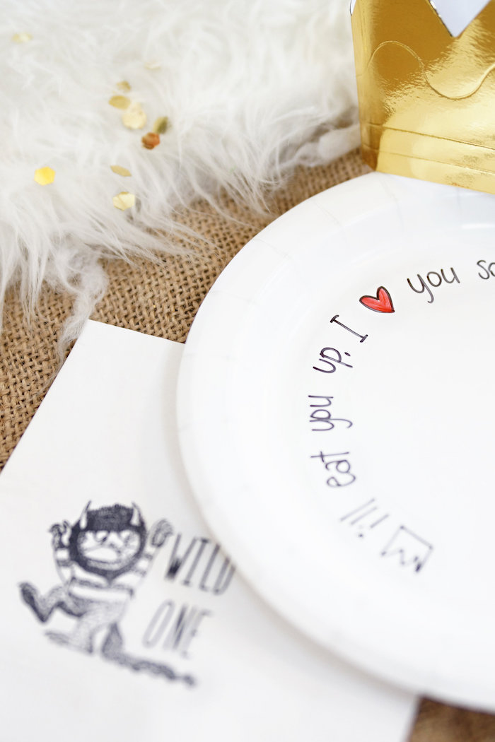 Wild One partyware from a Where the Wild Things Are 1st Birthday Party on Kara's Party Ideas | KarasPartyIdeas.com (4)