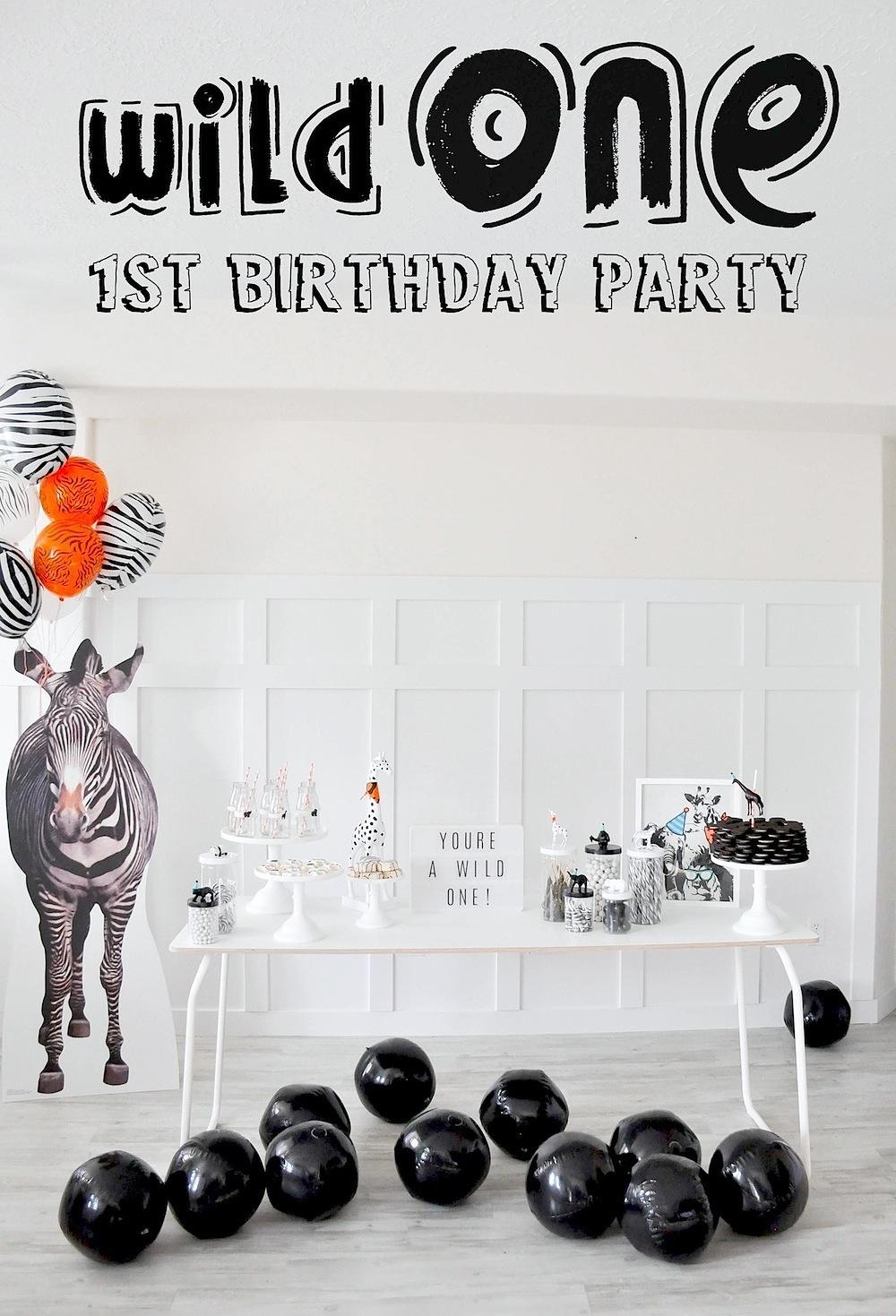 Kara S Party Ideas Wild One Monochromatic Jungle 1st Birthday