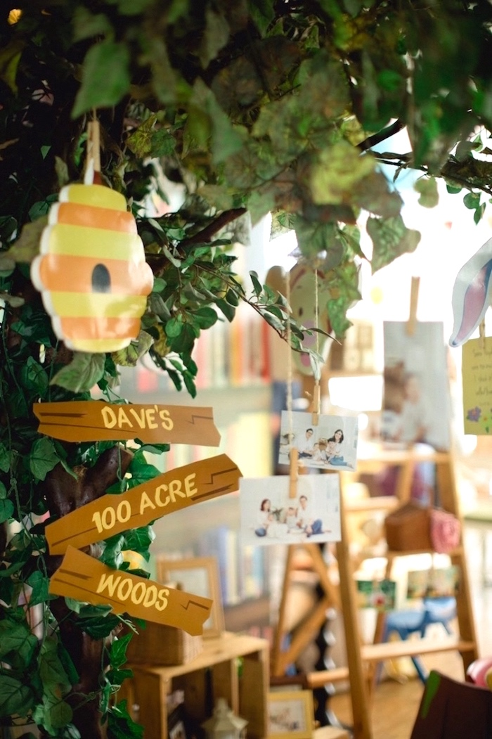 100 Acre Wood entrance from a Winnie the Pooh 1st Birthday Party on Kara's Party Ideas | KarasPartyIdeas.com (10)