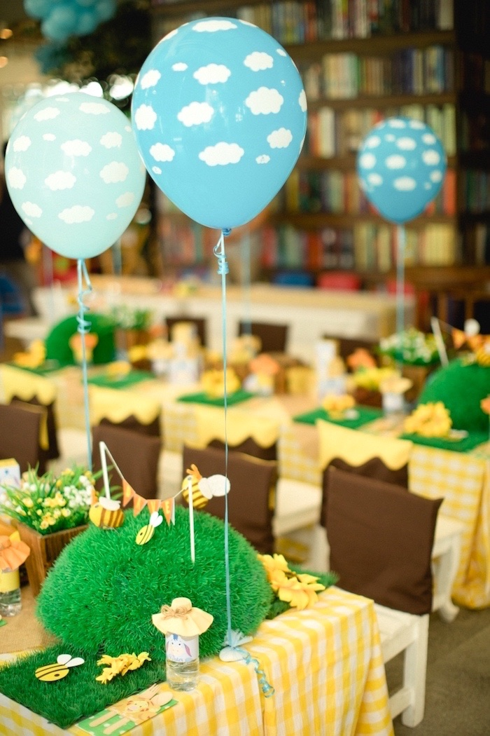 Hundred Acre Wood guest table from a Winnie the Pooh 1st Birthday Party on Kara's Party Ideas | KarasPartyIdeas.com (6)