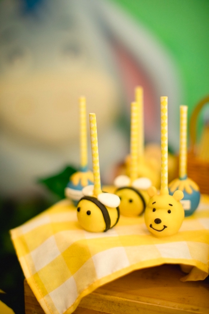 Winnie the Pooh Cake Pops from a Winnie the Pooh 1st Birthday Party on Kara's Party Ideas | KarasPartyIdeas.com (22)