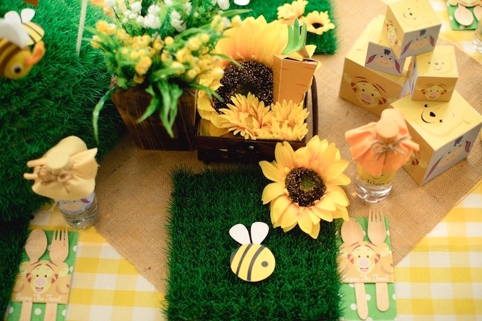 Sunflower garden place setting from a Winnie the Pooh 1st Birthday Party on Kara's Party Ideas | KarasPartyIdeas.com (21)